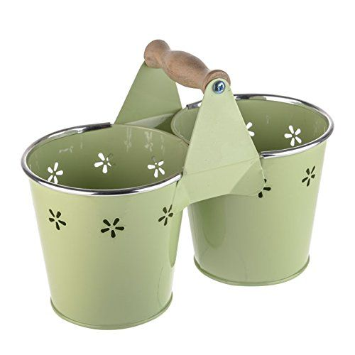 Daisy Twin Bucket Planter Flower Pots Pale Green